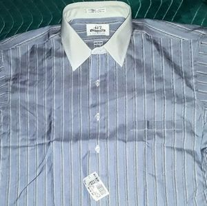417 Shirts - VAN HEUSEN 417 BLUE&WHITE STRIPE DRESS SHIRT 16.5